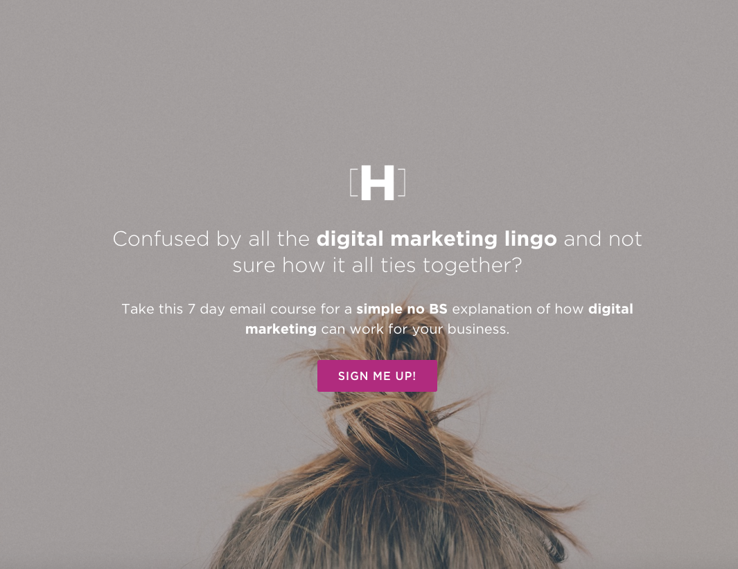 landing page with no navigation